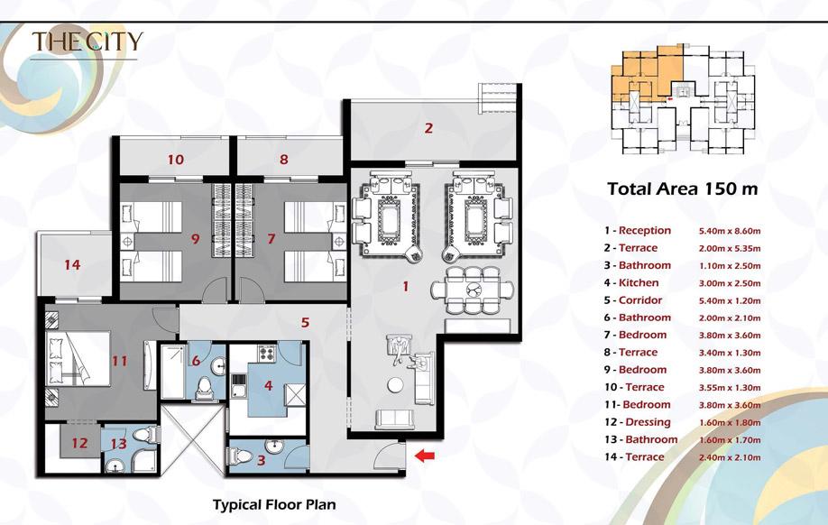 المبنى أ - شقة ب الدور النموذجى